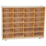 "Wood Designs™ 24 - 5"" Large Letter Tray Storage Unit With 24 Translucent Trays, Birch"