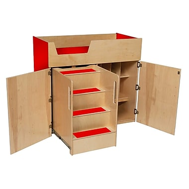 Tot Furniture Deluxe Wood/Veneer Changing Tables, Strawberry Red (WD21075R)