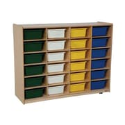 "Wood Designs™ 24 - 5"" Large Letter Tray Storage Unit With 24 Assorted Trays, Birch"