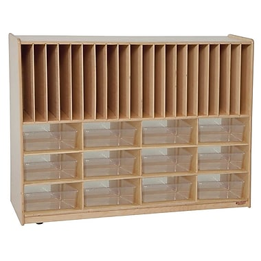 Wood Designs™ Tip-Me-Not™ Portfolio Storage With 12 Translucent Trays, Natural Wood
