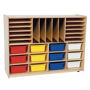 Wood Designs™ Multi-Sectioned Storage Center With 12 Assorted Rectangular Trays, Birch