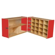 """Wood Designs™ 30""""H Half and Half Storage Unit Without Trays, Strawberry Red"""
