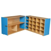 """Wood Designs™ 30""""H Half and Half Storage Unit Without Trays, Blueberry"""