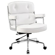 Modway Remix High-Back Padded Vinyl Executive Office Chair, Fixed Arm, White
