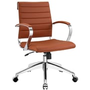 Modway Jive Ribbed Vinyl Mid Back Executive Office Chair, Terracotta