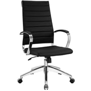 Modway Jive Ribbed Vinyl High Back Executive Office Chair, White