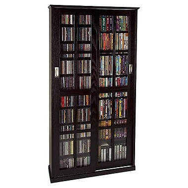 Leslie Dame Glass Door Multimedia Cabinet; Black