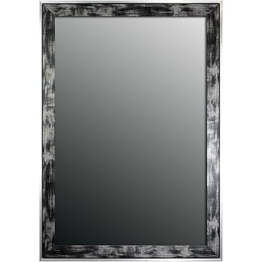 Second Look Mirrors Scratched Wash Black and Brushed Silver Trim Wall Mirror; 34'' H x 16'' W