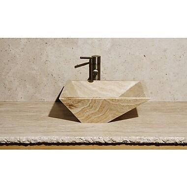 Allstone Group Irregular Rectangular Vessel Bathroom Sink; Blonde Sugar Marble / High Sheen Polish