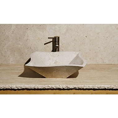 Allstone Group Curve Shape Vessel Bathroom Sink; Cafe Blanc Travertine / Honed