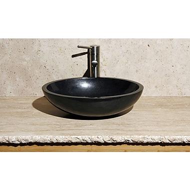 Allstone Group Oval Vessel Bathroom Sink; Black Granite