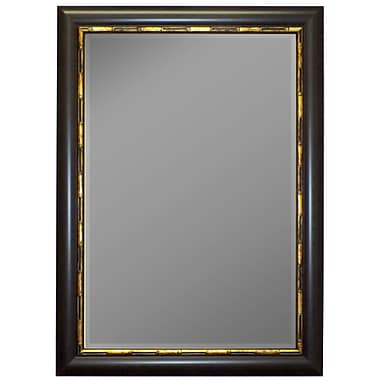 Second Look Mirrors Panda Mahogany Gold Bamboo Trim Wall Mirror; 46'' H x 36'' W
