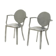 InnerSpace Luxury Products Arm Chair (Set of 2); Brushed Steel