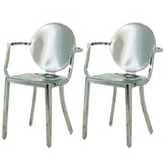InnerSpace Luxury Products Arm Chair (Set of 2); Polished Steel