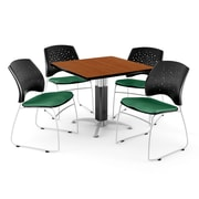 "OFM™ 42"" Square Cherry Laminate Multi-Purpose Table With 4 Chairs, Shamrock Green"