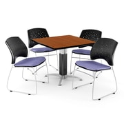 "OFM™ 42"" Square Cherry Laminate Multi-Purpose Table With 4 Chairs, Lavender"