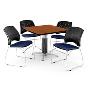 "OFM™ 36"" Square Cherry Laminate Multi-Purpose Table With 4 Chairs, Navy"