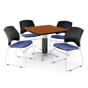 "OFM™ 42"" Square Cherry Laminate Multi-Purpose Table With 4 Chairs, Colonial Blue"