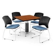"OFM™ 42"" Square Cherry Laminate Multi-Purpose Table With 4 Chairs, Cornflower Blue"