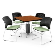 "OFM™ 48"" Square Cherry Laminate Multi-Purpose Table With 4 Chairs, Sage Green"
