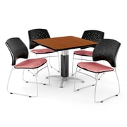 "OFM™ 42"" Square Cherry Laminate Multi-Purpose Table With 4 Chairs, Coral Pink"
