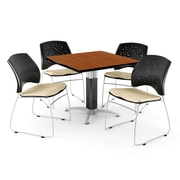 "OFM™ 42"" Square Cherry Laminate Multi-Purpose Table With 4 Chairs, Khaki"