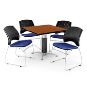 """OFM™ 36"""" Square Cherry Laminate Multi-Purpose Table With 4 Chairs, Royal Blue"""