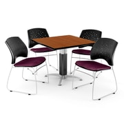 """OFM™ 42"""" Square Cherry Laminate Multi-Purpose Table With 4 Chairs, Burgundy"""