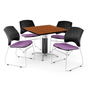 "OFM™ 36"" Square Cherry Laminate Multi-Purpose Table With 4 Chairs, Plum"