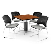 """OFM™ 36"""" Square Cherry Laminate Multi-Purpose Table With 4 Chairs, Putty"""