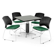 "OFM™ 36"" Square Gray Nebula Laminate Multi-Purpose Table With 4 Chairs, Shamrock Green"