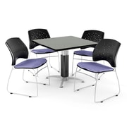 "OFM™ 36"" Square Gray Nebula Laminate Multi-Purpose Table With 4 Chairs, Lavender"