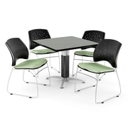 "OFM™ 42"" Square Gray Nebula Laminate Multi-Purpose Table With 4 Chairs, Sage Green"