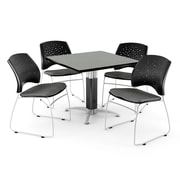 "OFM™ 36"" Square Gray Nebula Laminate Multi-Purpose Table With 4 Chairs, Slate Gray"