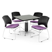 "OFM™ 42"" Square Gray Nebula Laminate Multi-Purpose Table With 4 Chairs, Plum"