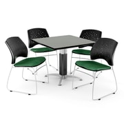 """OFM™ 36"""" Square Gray Nebula Laminate Multi-Purpose Table With 4 Chairs, Forest Green"""