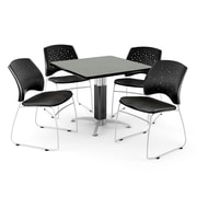 "OFM™ 42"" Square Gray Nebula Laminate Multi-Purpose Tables With 4 Chairs"