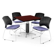 OFM™ 36 Square Mahogany Laminate Multi-Purpose Table With 4 Chairs, Lavender