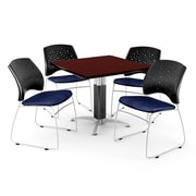 """OFM™ 36"""" Square Mahogany Laminate Multi-Purpose Table With 4 Chairs, Navy"""
