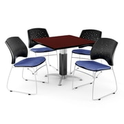 """OFM™ 42"""" Square Mahogany Laminate Multi-Purpose Table With 4 Chairs, Colonial Blue"""
