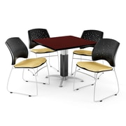"OFM™ 36"" Square Mahogany Laminate Multi-Purpose Table With 4 Chairs, Golden Flax"