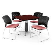 "OFM™ 36"" Square Mahogany Laminate Multi-Purpose Table With 4 Chairs, Coral Pink"