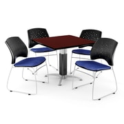 """OFM™ 36"""" Square Mahogany Laminate Multi-Purpose Table With 4 Chairs, Royal Blue"""