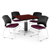 "OFM™ 36"" Square Mahogany Laminate Multi-Purpose Table With 4 Chairs, Burgundy"