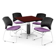 """OFM™ 36"""" Square Mahogany Laminate Multi-Purpose Table With 4 Chairs, Plum"""