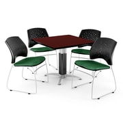 "OFM™ 42"" Square Mahogany Laminate Multi-Purpose Table With 4 Chairs, Forest Green"