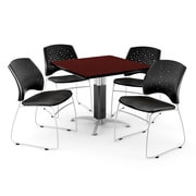 OFM™ 42 Square Mahogany Laminate Multi-Purpose Table With 4 Chairs, Black