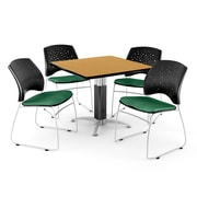 """OFM™ 42"""" Square Oak Laminate Multi-Purpose Table With 4 Chairs, Shamrock Green"""