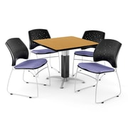 "OFM™ 42"" Square Oak Laminate Multi-Purpose Table With 4 Chairs, Lavender"