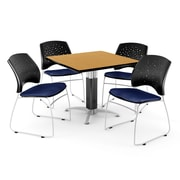 "OFM™ 42"" Square Oak Laminate Multi-Purpose Table With 4 Chairs, Navy"